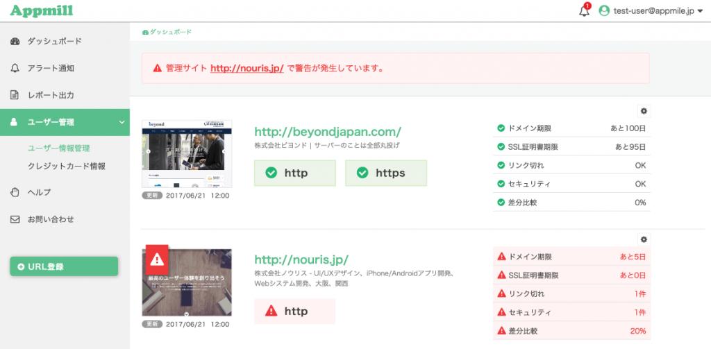 Appmill(アプミル)管理画面イメージ
